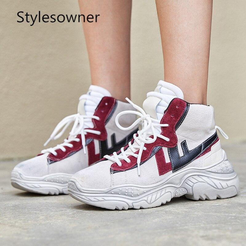 Élégant Épais red Coréenne Chaussures Confortable slip Mélangées Loisirs Style Couleurs Purple Femmes Populaire Stylesowner Sneakers Baskets Non Fond rotsQhBdCx