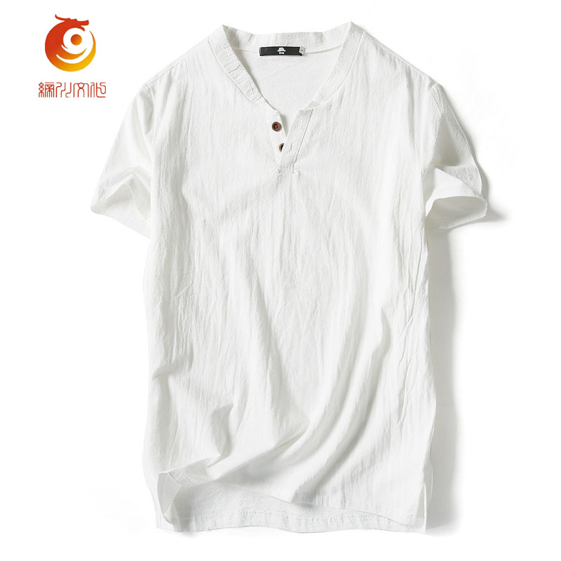 2017 Linen Cloth Summer Men T Shirt Short Sleeve NEW Arrived Casual V-neck Breathable Comfortable T Shirt Plus Size 5XL