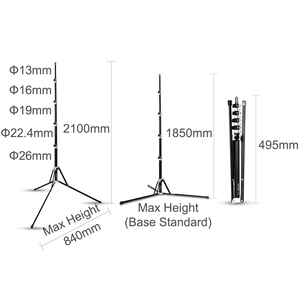Image 2 - 210cm 5 Section Collapsible Light Stand 6.9ft Metal Portable Foldable Tripod Outdoor Light Stand for Studio Flash Speedlite