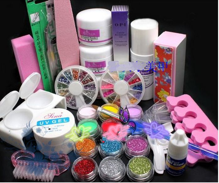 Nail Art Manicure Tools Professional 21 Acrylic Liquid Powder Glitter Art UV Gel Rhinestones Tips Brush Tool Nail Set Kit mioblet 2g box mirror effect nail glitter powder shiny rose gold purple mirror chrome powder dust nails art pigment diy manicure
