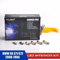24pcs Xenon White Error Free For BMW X6 E71/E72 2008 20XX LED Premium Interior Reading Light Full Kit + License Plate Light