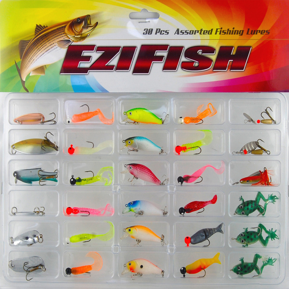 Fishing Lure Set 30Pcs/card Plastic Jig Head Spin Spinner crank bait Spoon Sequins Hard soft Mix Bait with Hooks Fishing tackle 101pcs set almighty fishing lures kit with box hard soft bait minnow spoon crank shrimp jig lure fishing tackle accessories