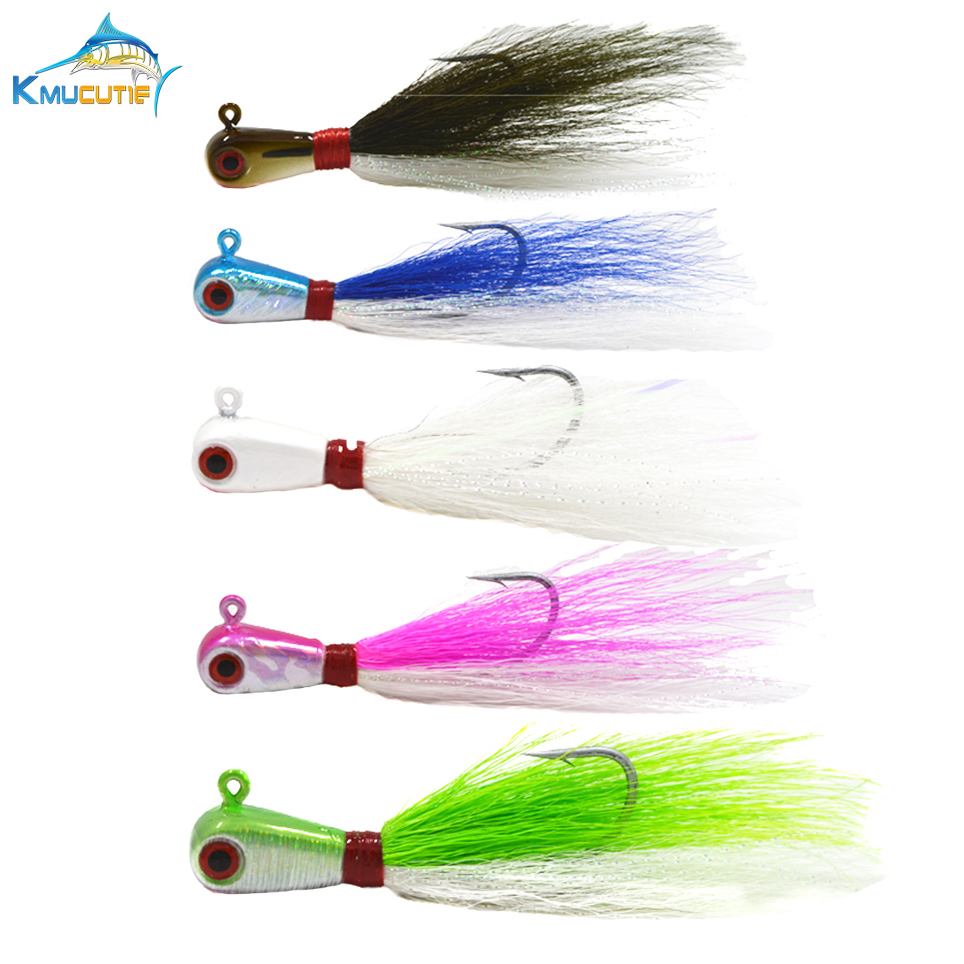 1OZ 3D Eyes Bucktail jig 5 colors Big game Saltwater Jig Lead Head Bass Fishing Lures in Fishing Lures from Sports Entertainment