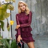 Simplee Elegant Hollow Out Ruffle Lace Dress Women Vintage Long Sleeve Slim Short Dress Winter Star