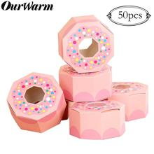 OurWarm 50Pcs Donut Birthday Favor Boxes Pink Hexagon Paper Chocolate Candy Box Goodies Bags Baby Shower Donut Party Supplies goodies