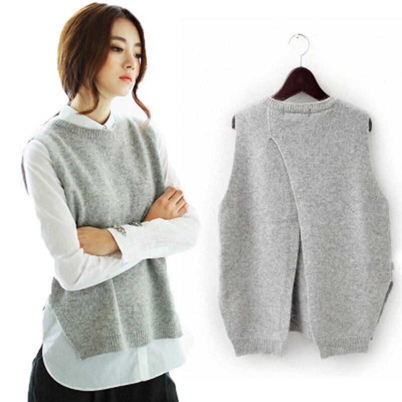 Frauen Khaki O hals Gestrickte Pullover Weste 2018 Herbst Winter Mode Ärmellose Damen Stricken Westen frauen Pullover Pullover Weste
