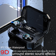2019 TWS 5.0 Bluetooth 9D Stereo Wireless earphone IPX7 Waterproof earbuds LED Display with Emergency Charging Bluetooth earbuds
