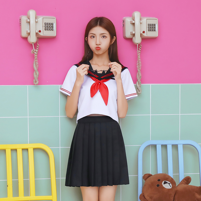 Girls Summer Jk Orthodox School Uniform Japanese Cosplay Short Sleeved Sailors Suit Student College Clothes Tops Pleated Skirt