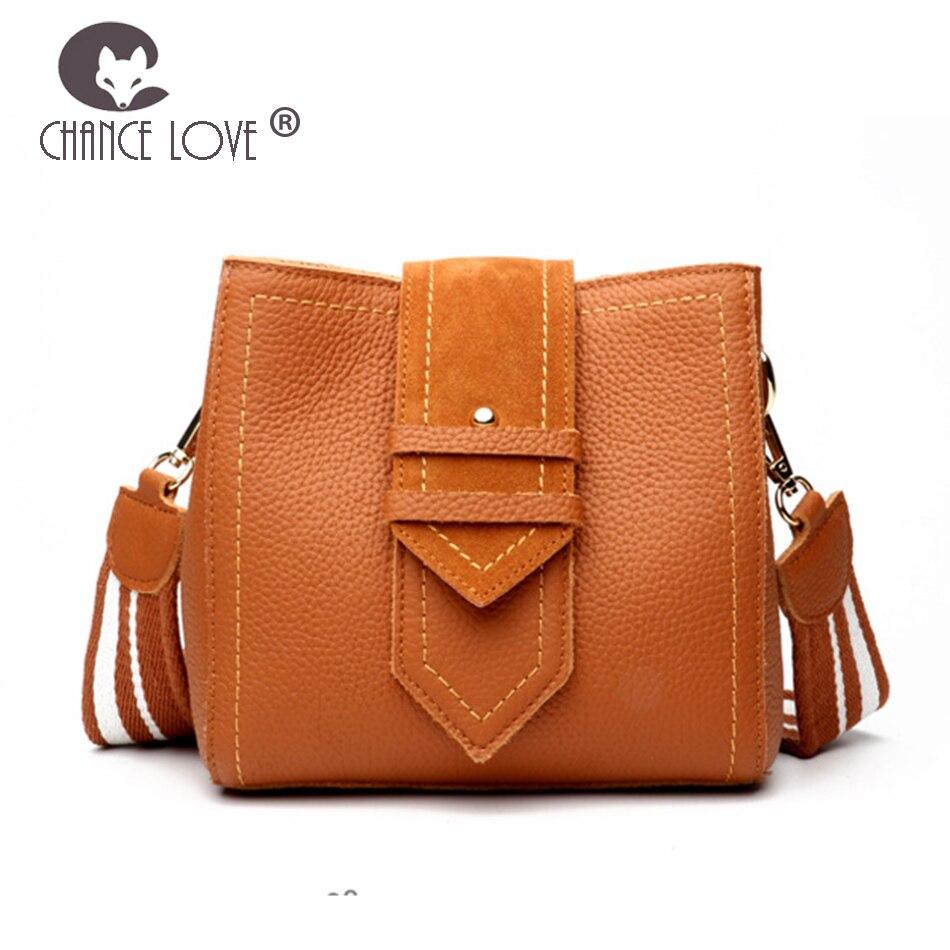 Chance Love women bag Genuine Leather handbag retro bag bucket bag 2018 new fashion Big belt adjustable Messenger Bags female chance love bag female women 100