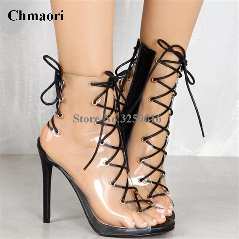New Fashion Women Open Toe PVC Transparent Short Gladiator Boots Cut-out Lace-up Thin Heel Sandal Boots High Heel Ankle BootiesNew Fashion Women Open Toe PVC Transparent Short Gladiator Boots Cut-out Lace-up Thin Heel Sandal Boots High Heel Ankle Booties