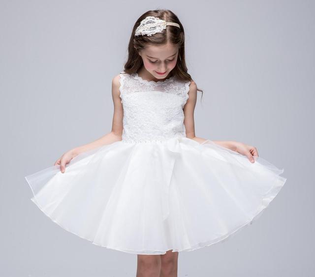 new arrival 6aef5 91670 US $69.0 |Merletto Delle Ragazze di Fiore Abiti Per La Cerimonia Nuziale  Abito Bianco Ragazza Birthday Party Dress Ginocchio Lunghezza Abiti Del ...