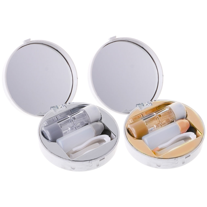 Round Contact Lens Box Marble Objectives Portable Mirror Cas