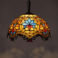 Retro colorful Tiffany lamp Stained Glass Pendant lamp Western Restaurant hanging Lights Bar Beauty Shop Lobby Led Home lighting