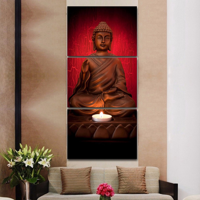Great 3 Panels Canvas Print Red Buddha Painting For Living Room Wall Art Picture  Gift Home Decoration Part 4