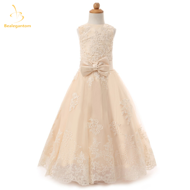 2019 New Scoop Lace A-Line   Flower     Girl     Dresses   with Appliques Bow Organza Princess Pageant Gown Vestidos De Comunion L52
