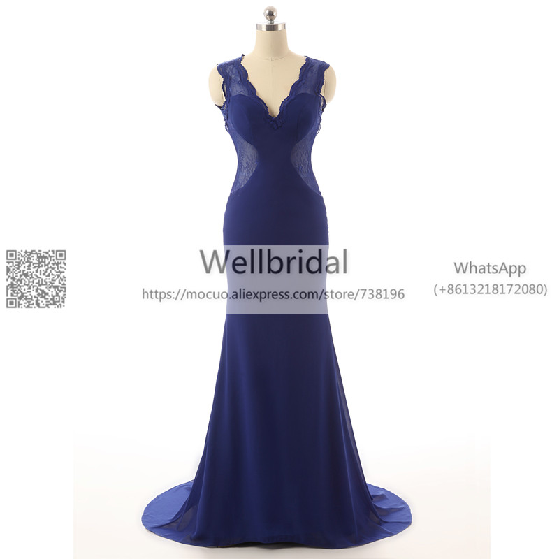 2017 Real Royer Blue   Evening     Dresses   Mermaid Robe de soiree Lace Backless Keyhole Chiffon   Evening   Prom   dress   for women