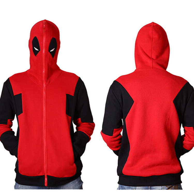 Movie Deadpool Cosplay Costumes Coat Red Black Print Sweatshirts Sets Cosplay Hoodies
