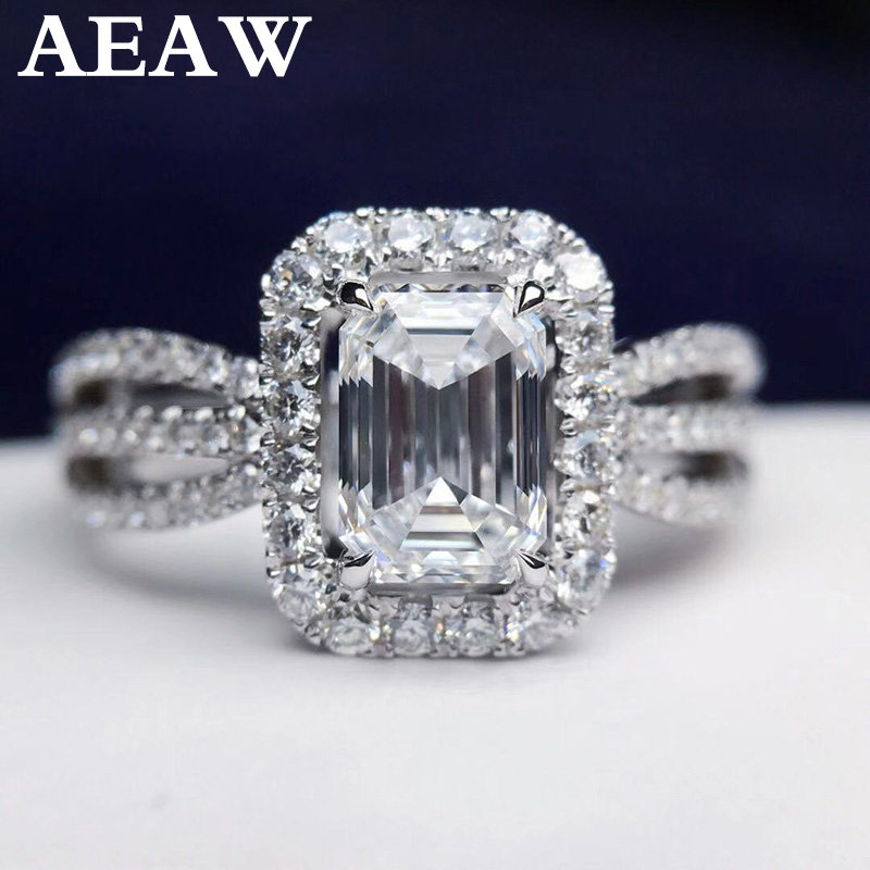 Luxury 2ctw 1.2carat Moissanite Ring Solid 18K White Gold Engagement Ring Emerald Cut Lab Grown Diamond Wedding Ring For WomenLuxury 2ctw 1.2carat Moissanite Ring Solid 18K White Gold Engagement Ring Emerald Cut Lab Grown Diamond Wedding Ring For Women