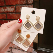 Korea Handmade Anti-allergy Geometric Rhinestone Women Drop Earrings Dangle Fashion Jewelry Accessories-QQD5