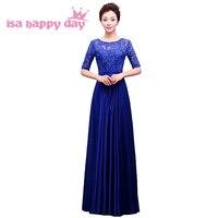 Gerçek resim dantel uzun zarif yarım kollu son akşam elbise tasarımları resmi elbiseler mavi renk bayanlar elbise törenlerinde H3764