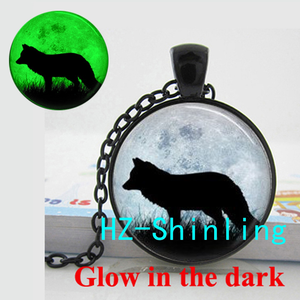 Glowing Fox Necklace Fox Pendant Animal and Moon Jewelry Glow in The Dark Pendant Glass Dome Necklace