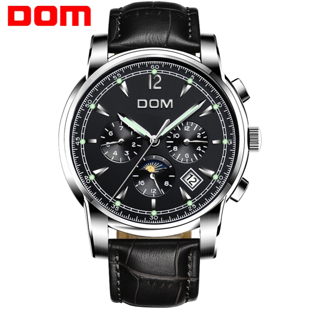 Mechanical Watches Sport DOM Watch Men Waterproof Leather Clock Mens Brand Luxury Fashion Wristwatch Relogio Masculino M-75L-1MX mechanical watches sport dom watch men waterproof clock mens brand luxury fashion wristwatch relogio masculino m 75l 2m