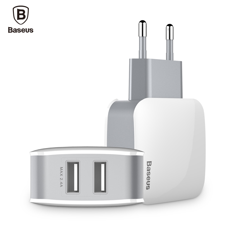 Baseus Brand Universal Phone USB Charger Dual Ports Travel Wall Adapter 2.4A EU US Plug Mobile Phone Charger For iPhone Tablet