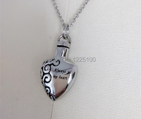 Stainless steel silver ash urn cremation jewelry for ashes heart stainless steel silver ash urn cremation jewelry for ashes heart necklace pendant cremation jewellery always mozeypictures Choice Image