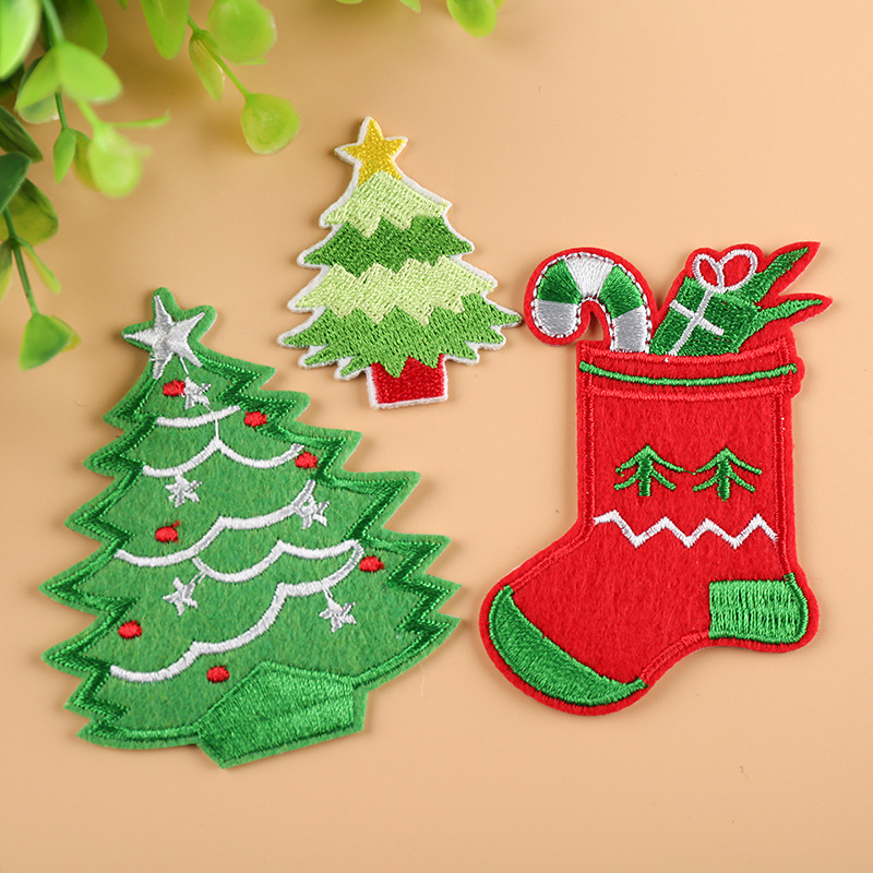 Christmas Tree Patch: 1pcs Christmas Tree Stockings Parches Iron On Patches