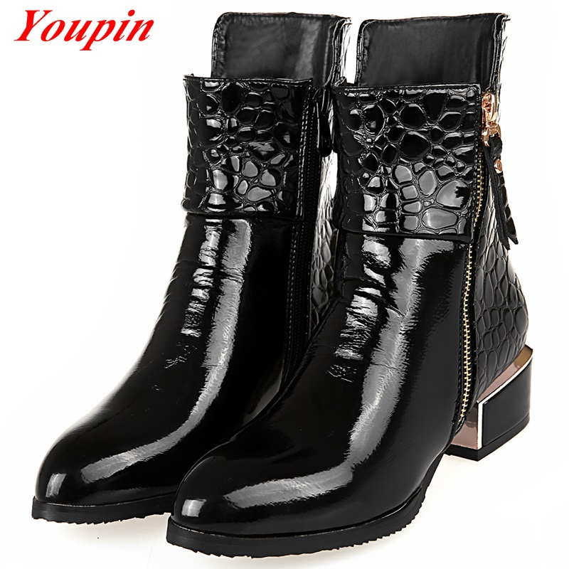 Martin Boots For Women 2015 Fashion Sleeve Boots Tip Patent Leather Shoes Black Short Tube Middle