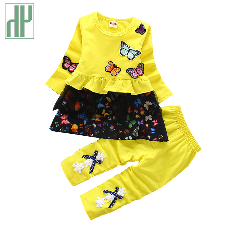 Toddler Lady Garments Fall Spring Butterfly Youngsters Clothes Set Vogue Boutique Little Women Two Piece Outfits Tracksuit Youngsters