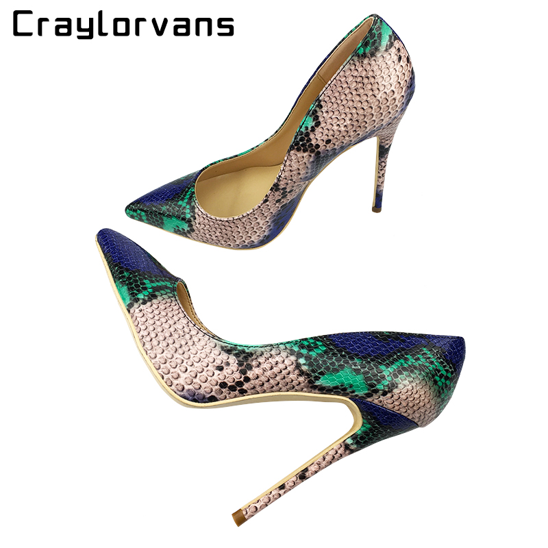 Craylorvans Top Quality Sakura Snake Printing Women High Heels 2018 NEW Fashion Party Wedding Blue Sexy Women Shoes Size 43