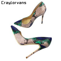 Craylorvans Top Quality Sakura Snake Printing Women High Heels 2018 NEW Fashion Party Wedding Blue Sexy