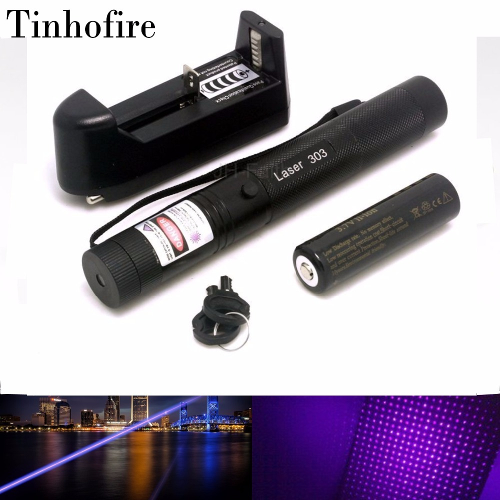 Top Laser 303 Purple UV Laser Pointer Adjustable Focal Length and Star Pattern Filter With 4000mah 18650 Battery and Charger zk30 top laser 303 green laser pointer adjustable focal length and with star pattern filter with 18650 battery charger and a box