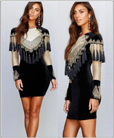 Luxury Black Gold Pearl Beads Tassel Bodycon Long Sleeve Evening Party Dress Plus Size XXL XXXL Elegant Vestido De Festa SMS 1