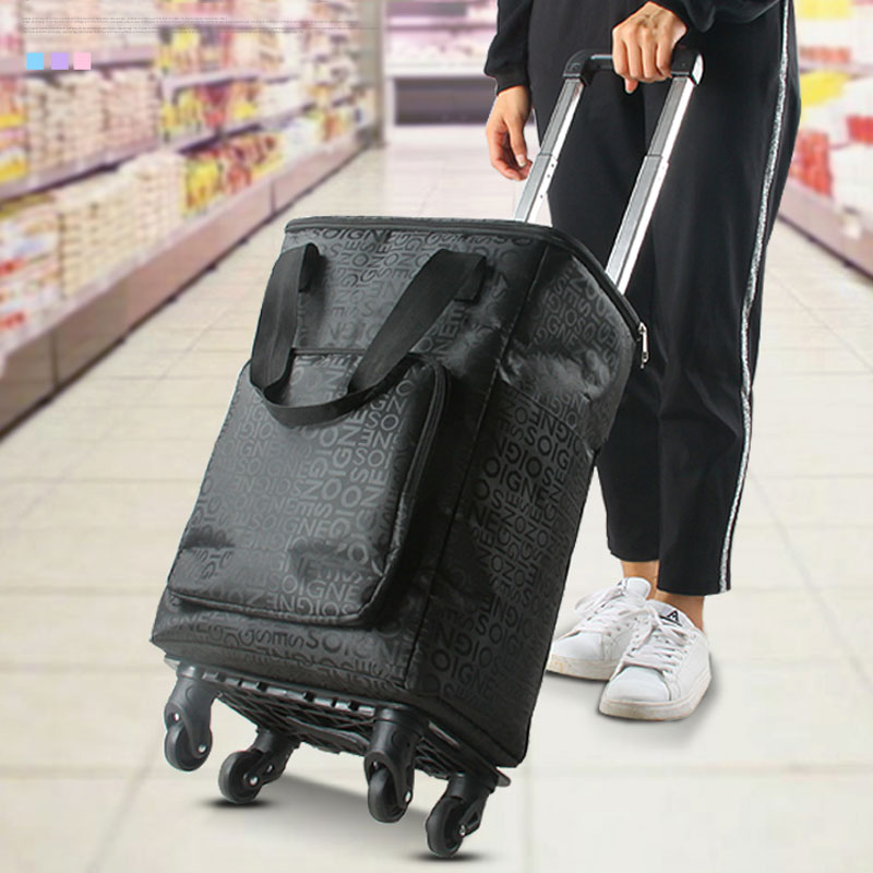 e9996b1b6a4a US $40.65 20% OFF|Folding Trolley Bag Portable Shopping Cart Universal  Wheel To Buy Food Cart Aluminum Alloy Trolley Shopping Bag Travel Small  Car-in ...
