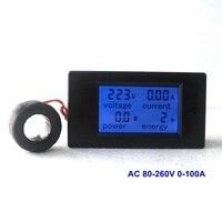 Medidor do amplificador do volt de digitas AC80 260V 100a com o monitor da energia do medidor 220 v do indicador atual da tensão da c.a. 220 v da bobina do transformador volt amp meter power meter 220v volt amp -