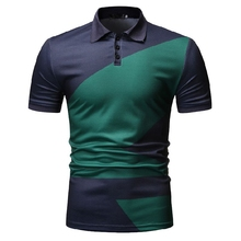 Summer Tops Business Men Polo Shirt Tees Casual Polo Shirt for Men Camisa masculina Short sleeve Color stitching Blue Green New все цены