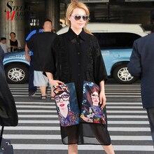 New Summer Woman Black Casual Chiffon Shirt Dress Large Cartoon Pockets Plus Size Ladies Midi Party Club Dresses Robe Femme 3456
