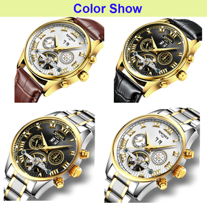 Image 3 - KINYUED Business Mechanical Watches Mens Skeleton Tourbillon Automatic Watch Men Gold Steel Calendar Waterproof Relojes Hombre
