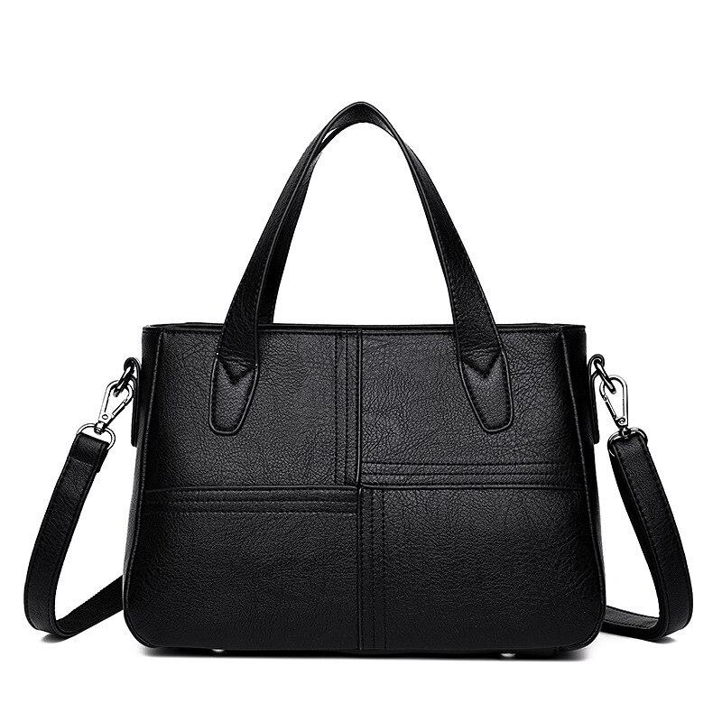 Bagaj ve Çantalar'ten Omuz Çantaları'de 2018 yeni Kore versiyonu moda gelgit yumuşak deri çantalar siyah rahat çanta sıcak'da  Grup 1