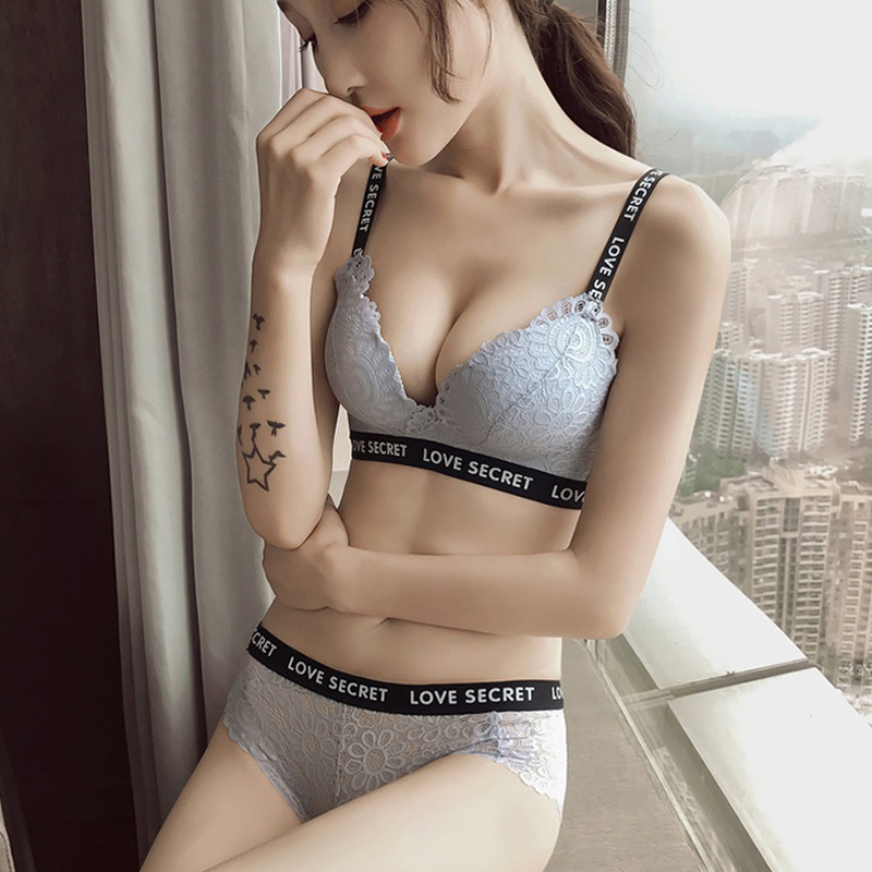 DERUILADY   Bra     Set   Sexy Lace Floral Lingerie Fashion Wireless Breathable Underwear   Set   Women Seamless Push Up   Bra   And Panty   Set