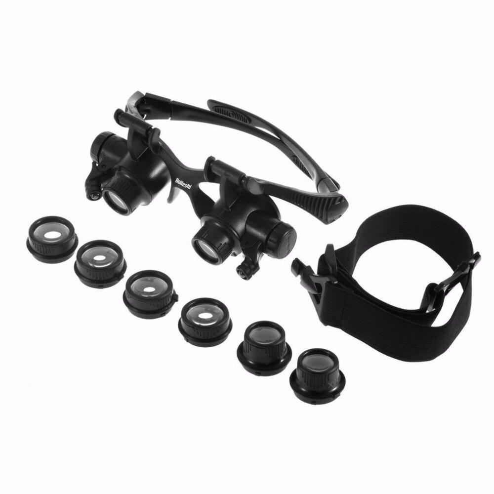 10X 15X 20X 25X LED Light Fishing Glasses Safety Jeweler Magnifier Eyewear Magnifying Glasses with 3 Pairs Interchangable Lens окуляр для зрительных труб nikon prostaff 5 20x 25x