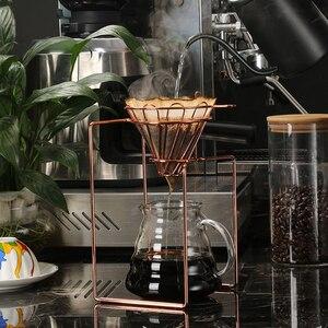 Image 3 - Filtros de café cafetera gotero geométrico, reutilizable vierta sobre el soporte de filtro de café, cesta de filtro permanente