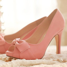 Peep Toe Pumps Woman Nice Formal Dress Shoes Pink Color 4 Inches Bridal Wedding Shoes High Quality Bridesmaid Shoes