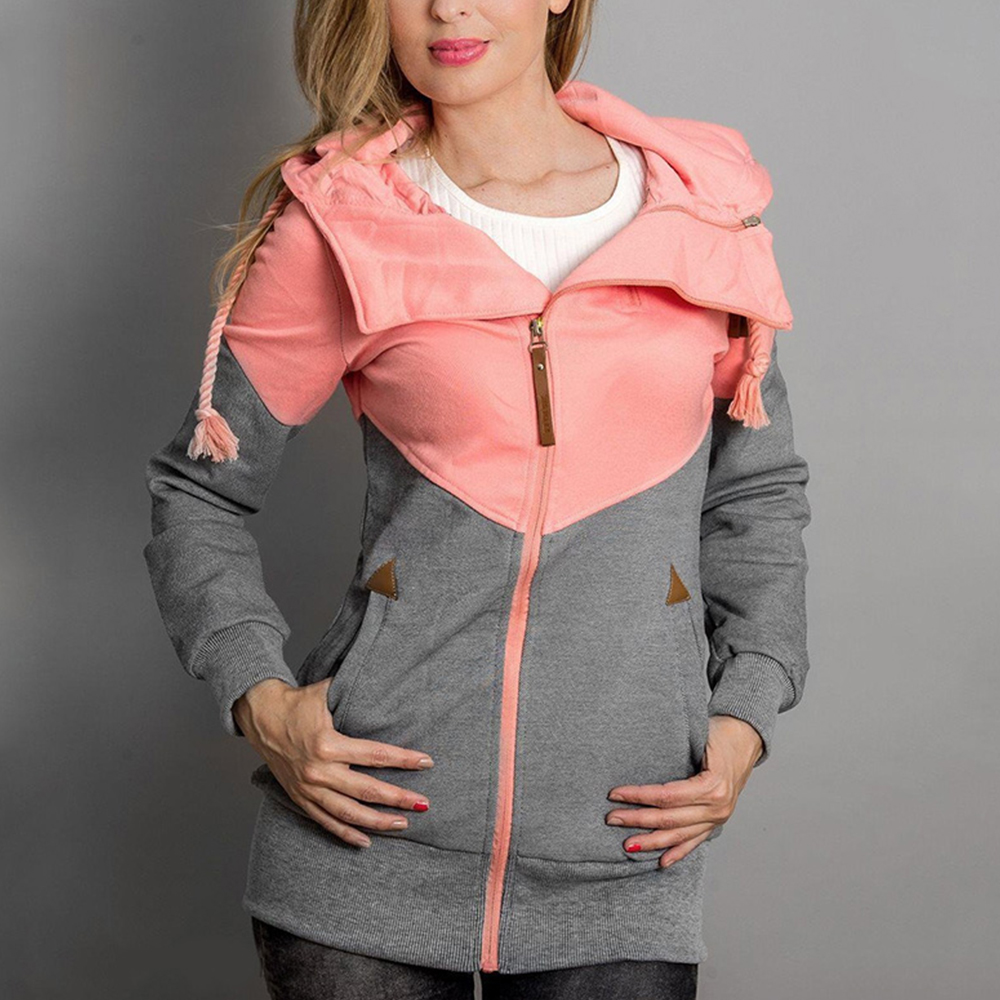 Women Sweatshirt 2019 Casual Hooded Zipper Pocket Patchwork Jackets Fashion Warm Fitness Gym Running Female Outwear Plus Size