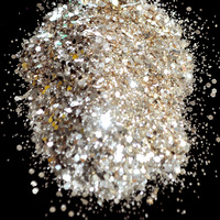 Platinum Gold Color Nail Glitter Hexagonal Sequins Powder Dust Mix Size Nail Glitter Powder Flash Acrylic