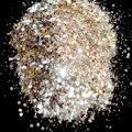 Platinum Gold Color Nail Glitter Hexagonal Sequins Powder Dust Mix Size Nail Glitter Powder Flash Acrylic Manicure Tool
