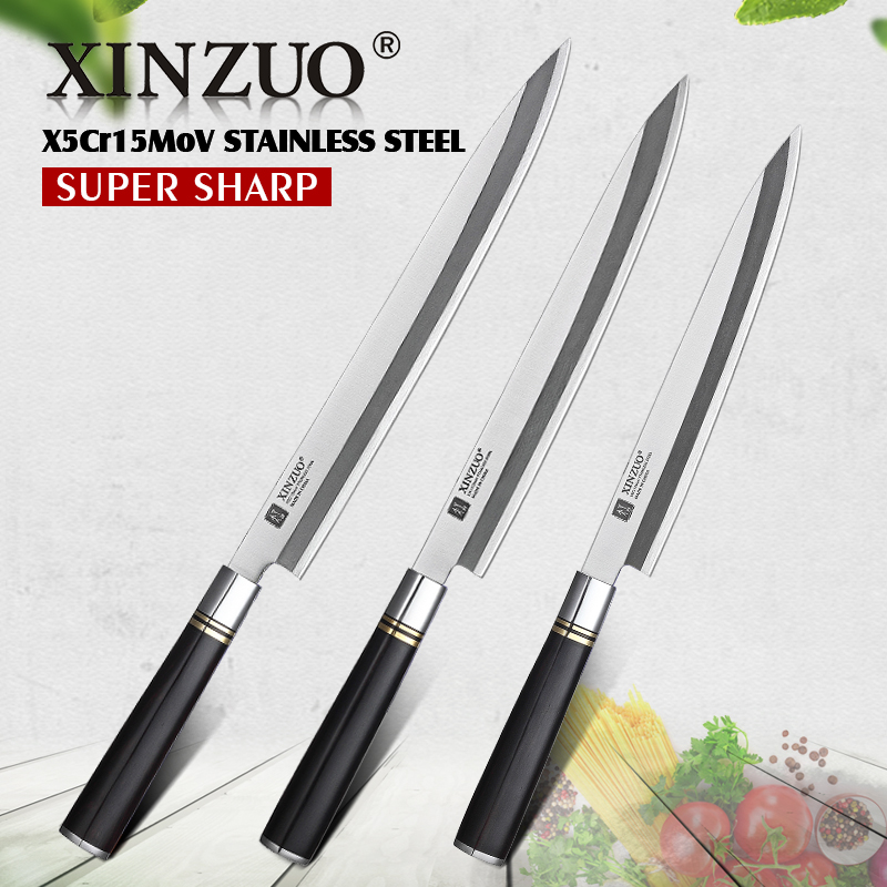 XINZUO 240/270/300mm Filleting Knife with Scabbard X5Cr15MoV Steel Kitchen Knives Japanese Sashimi Sushi Deba Knife Ebony Handle