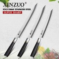 XINZUO 240/270/300mm Filleting Knife with Scabbard X5Cr15MoV Steel Kitchen Knives Japanese Sashimi Sushi Deba Knife Ebony Handle